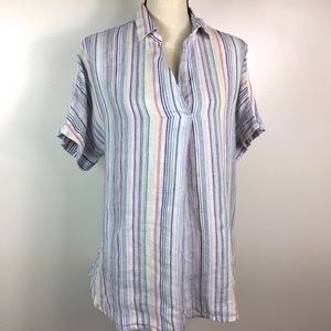 100% LINEN Top Size Striped button down blouse
